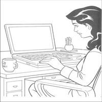 Компьютер и человек раскраска